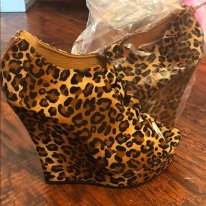 Shoes - Leopard suede wedges with open detailed design